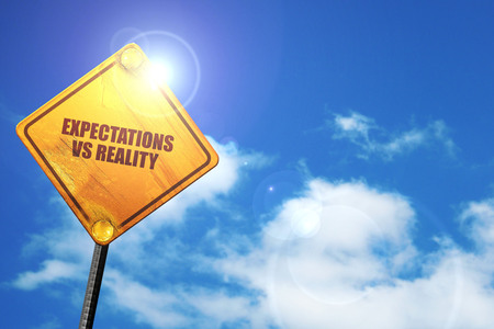 72836938 - expectations versus reality, 3d rendering, traffic sign