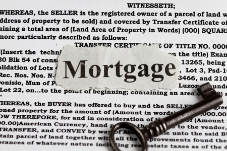 13283414 - house mortgage with definition and vintage key abstract